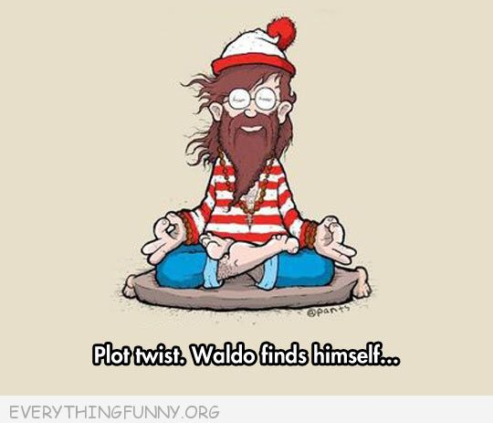 funny cartoon waldo found himself meditation