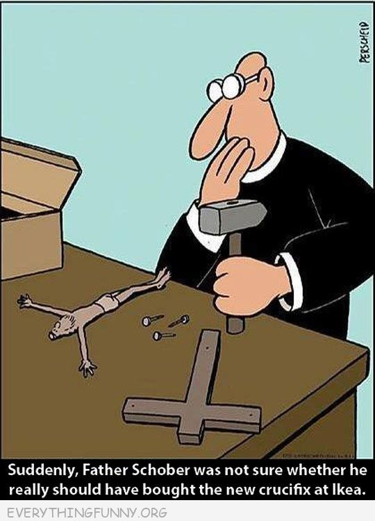 funny cartoon suddenly priest was not sure he should have brought cross at ikea