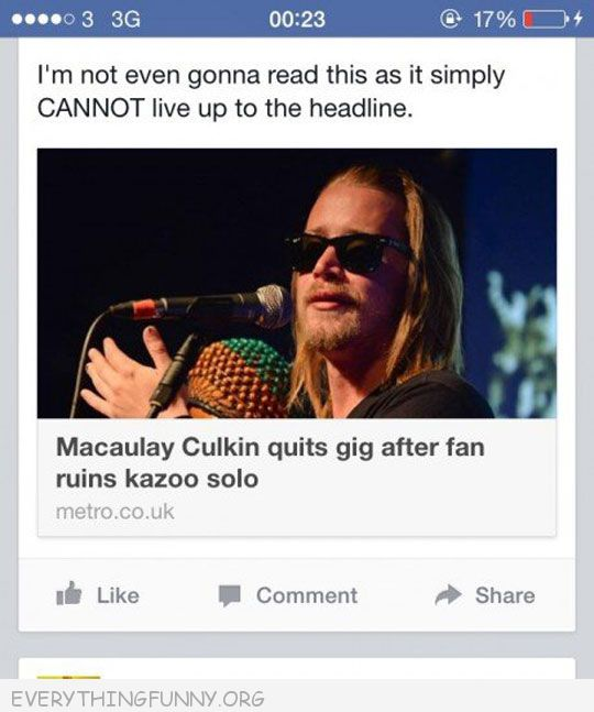 funny text message Macaulay culkin quits gig after fan ruins kazoo solor