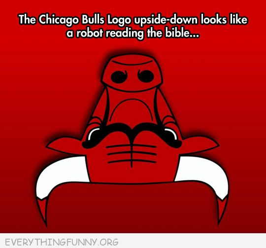 funny cartoon chiago bulls logo upside down looks like robot reading the bible