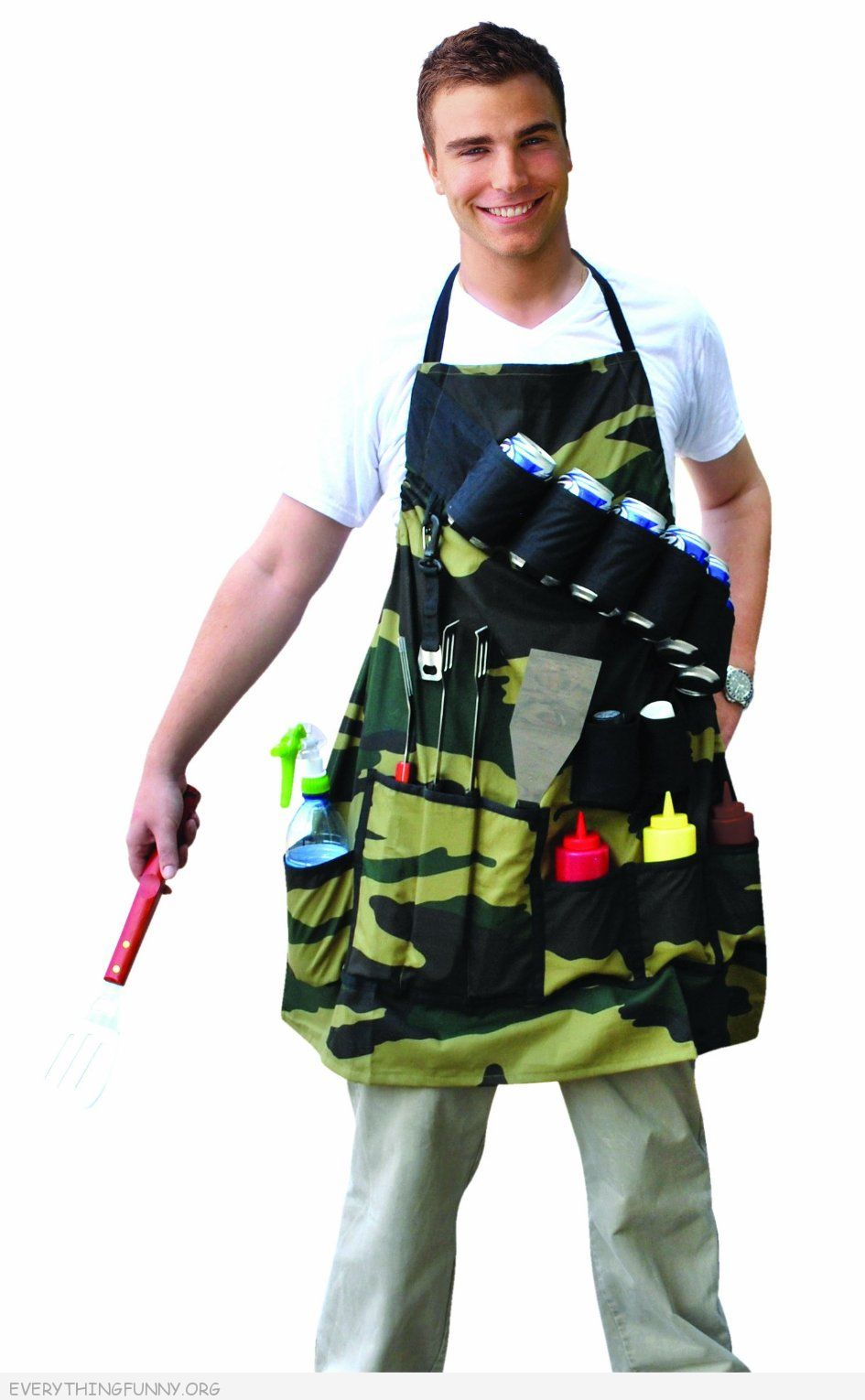 funny bbq apron for men the grill sergeant with beer holder