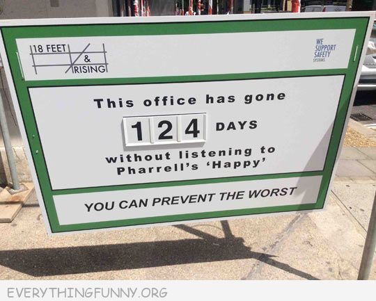 funny sign this office has gone 124 days without Pharrel's Happy
