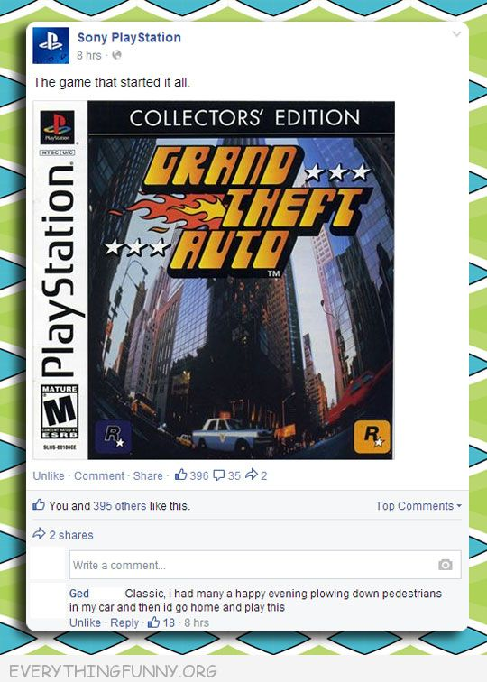 funny facebook status original grand theft auto used to run down pedestrians then come home and play game