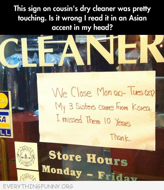 funny billboards sign chinese dry cleaners closed sisters in from korea wrong that i read this with accent