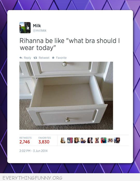 funny tweet twitter empty drawer where rihanna be like what bra should I wear today