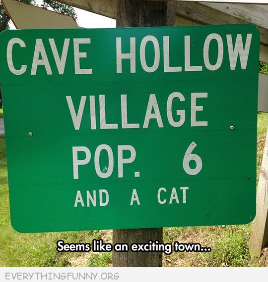 funny billboard sign cave hollow village pop 6 and a cat