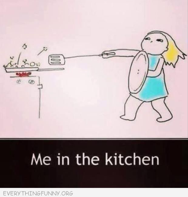 funny cartoon me in the kitchen spatula sword pot lid shield