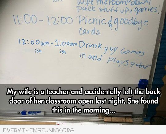 funny billboard sign drunk guy leaves drunk note on message board in classroom