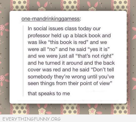 funny tumblr post red book black book see others point of view