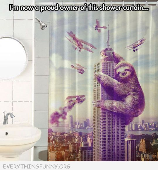 funny proud owner of this sloth shower curtain