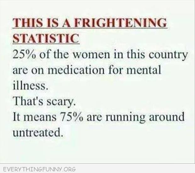 funny quote 25% woman medicated scary 75% running around untreated