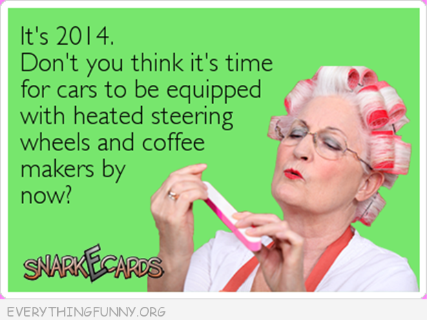 funny ecards it's 2014 heated steering wheels and coffee makers in cars