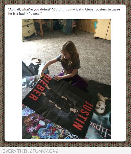 funny tumblr cutting up justin beiber posters bad influence