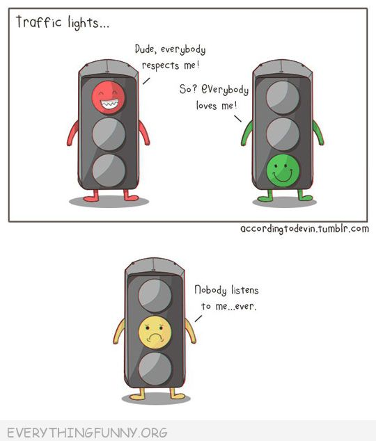 funny cartoon traffic light respect red green yellow