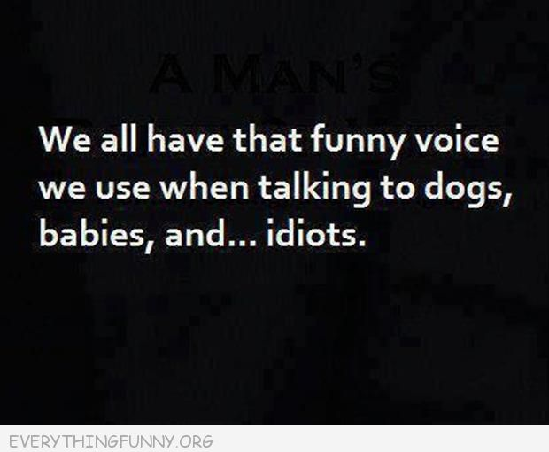 funny quote we all have those funny voices we use when talking to dogs babies and idiots