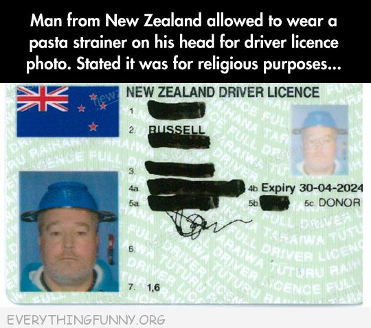 funny guy wears pasta strainer on his head for drivers license said it was religious purposes