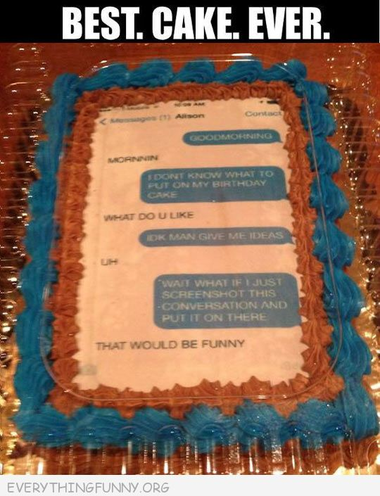 funny text message cake