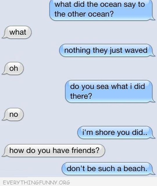funny text message sea puns how do you have friends