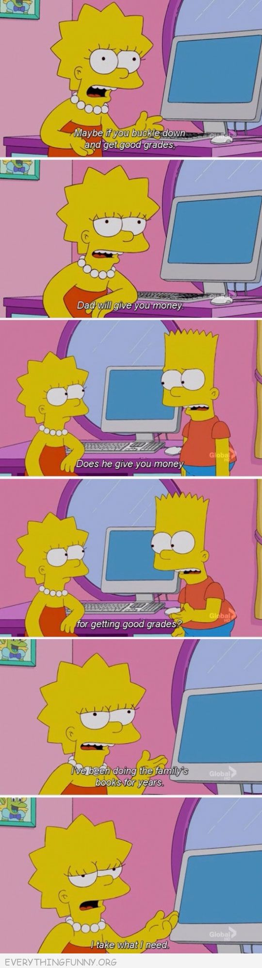 funny simpons cartoon lisa doing familiy's books for years i take what i need