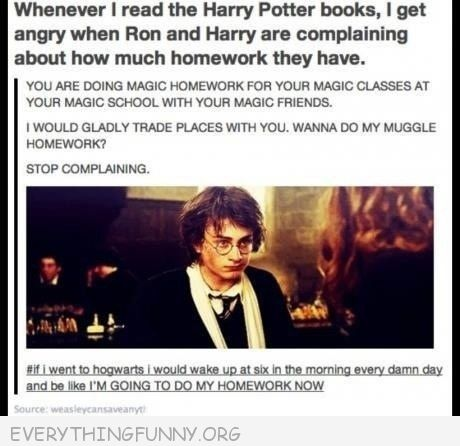 funny tumblr harry potter complaining about homework you are doing magic homework in your magic school wth your magic friends