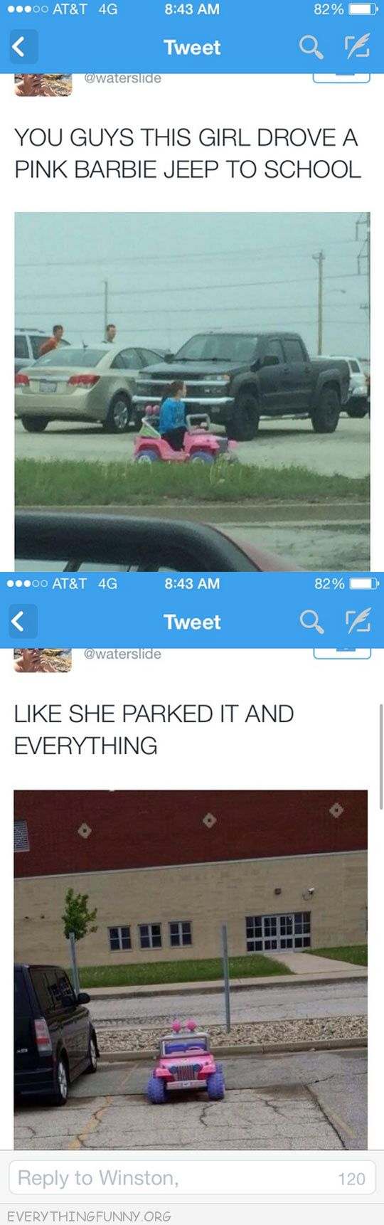 funny twitter girl drives childs car to school and parks it