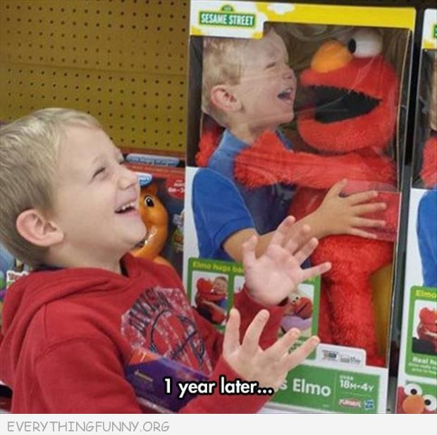 funny kid on elmo box one year later