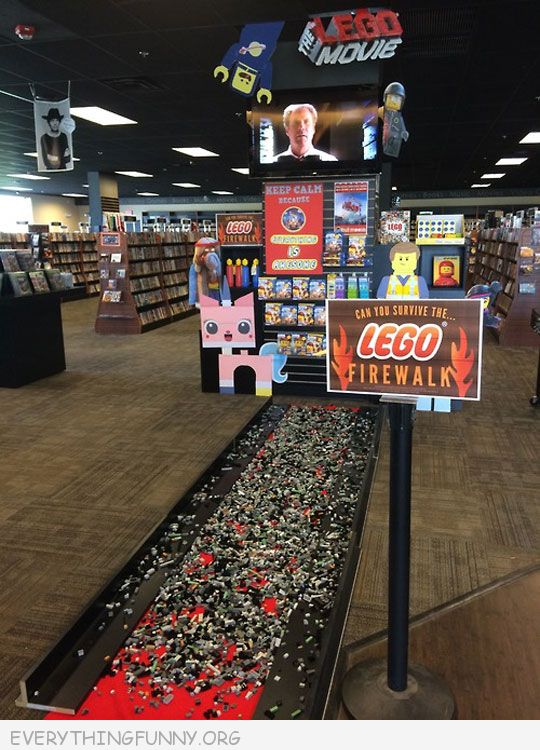 funny lego firewalk in store do you dare