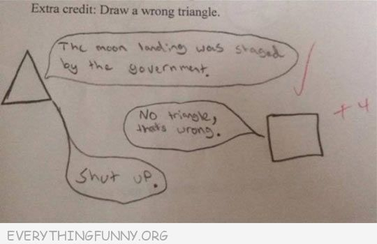 funny test answers draw a wrong triangle