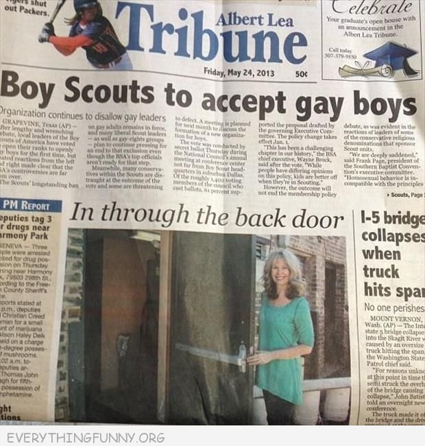 funny newspaper headliner fail boy scouts to accept gay boys in through the back door