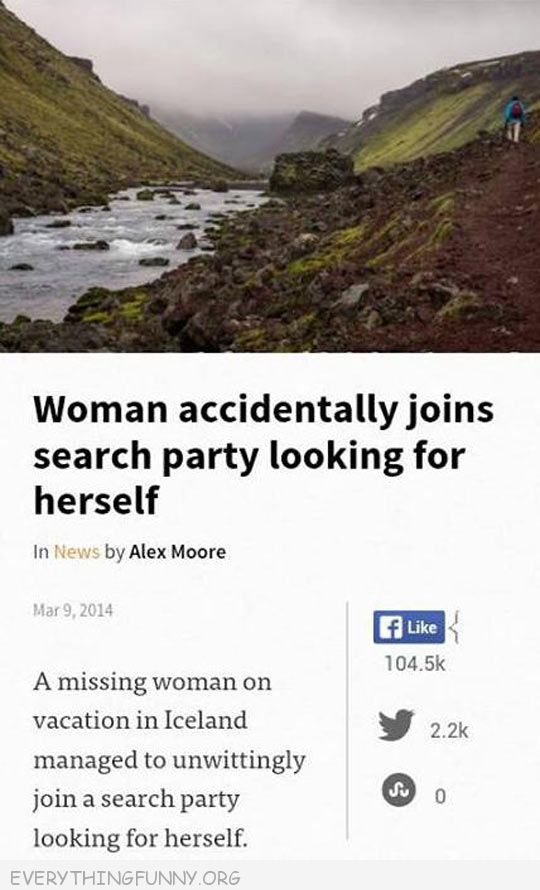 funny facebook status woman accidentlaly joins search party looking for herself