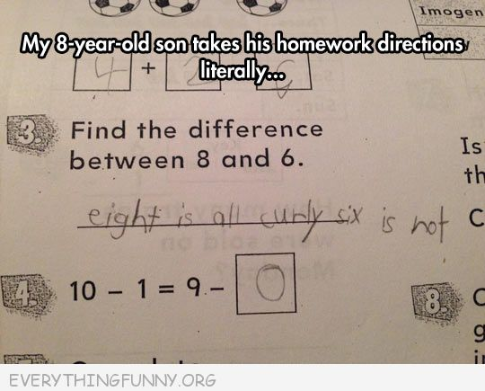 funny test answers difference between 8 and 6 eight is curly six is not