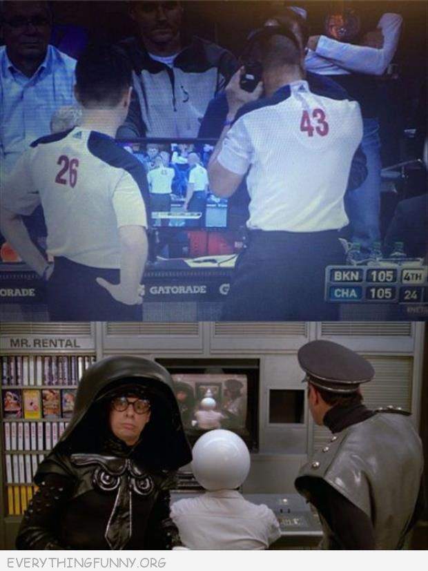 funny photos basketball game watching themselves on tv just like scene from spaceballs