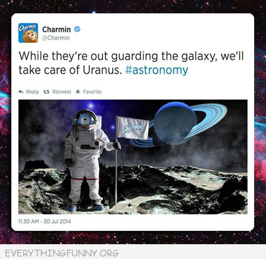 funny tumblr post charmin commercial we'll take care of uranus