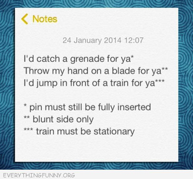funny tumblr i'd catch a grenade for you if the pin was in it