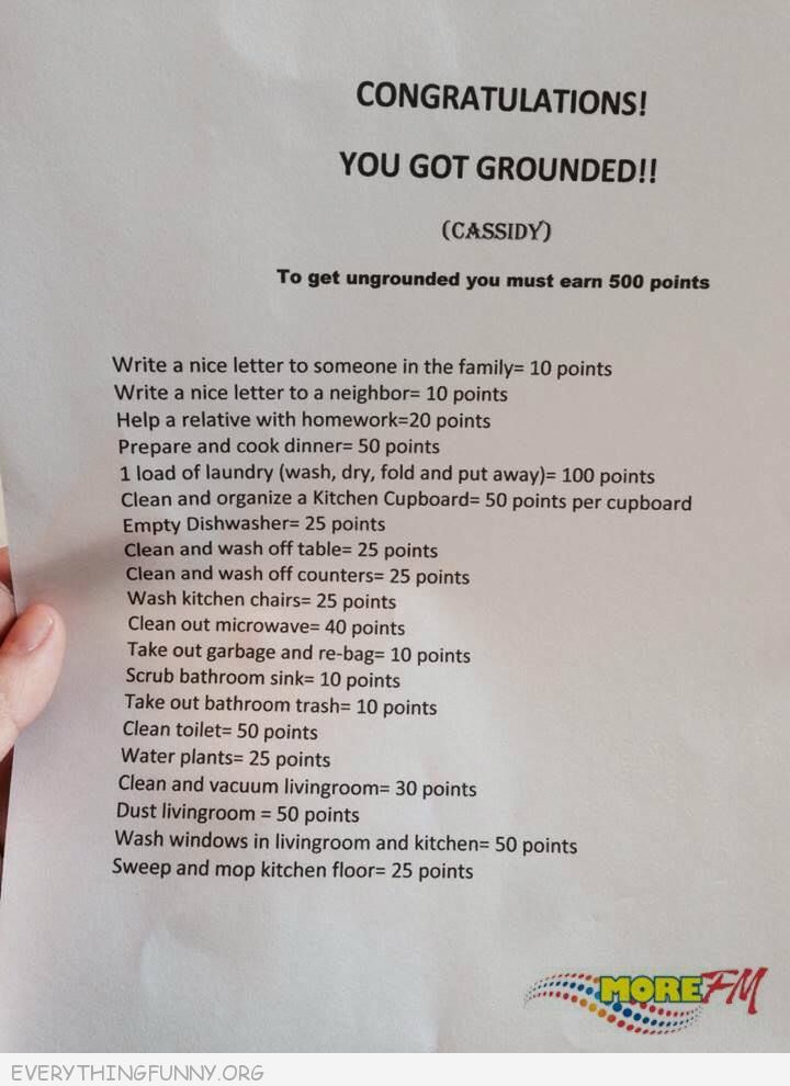 funny awesome grounded punishment idea points to get off punishment household chores