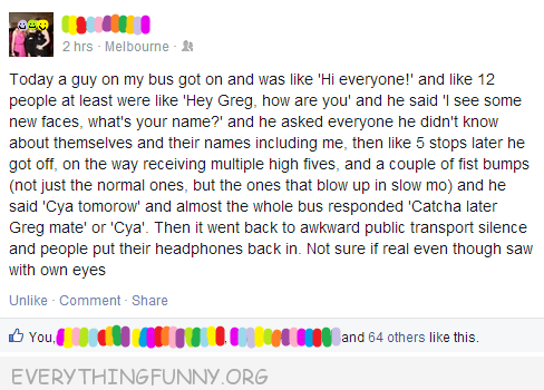 funny facebook status cool bus guy