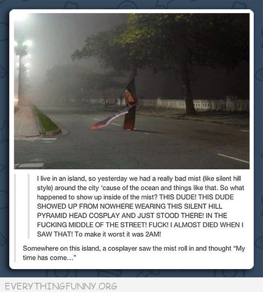 funny tumblr island mist some guy wearing silent hillpyramid head costume cosplay