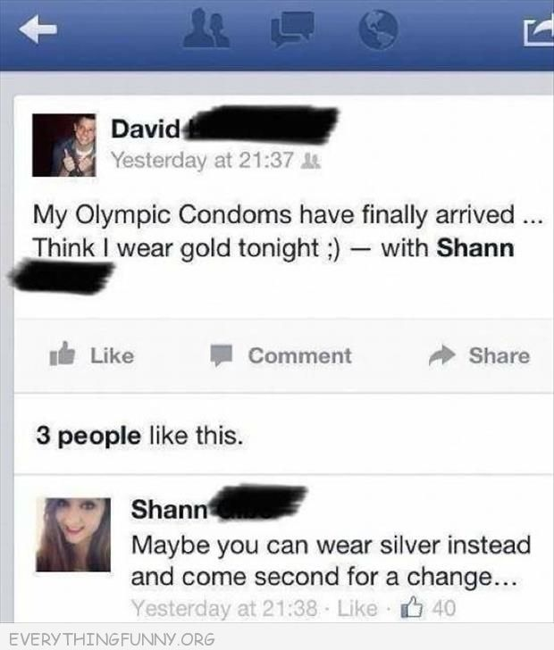 funny facebook status gold condom how about silver and coming second once in awhile