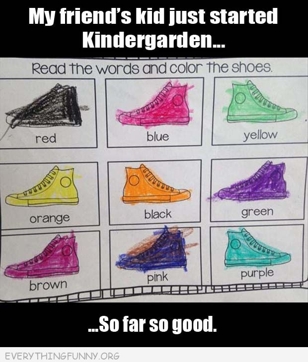 funny est answers kindergarten my child filled in shoes every color wrong