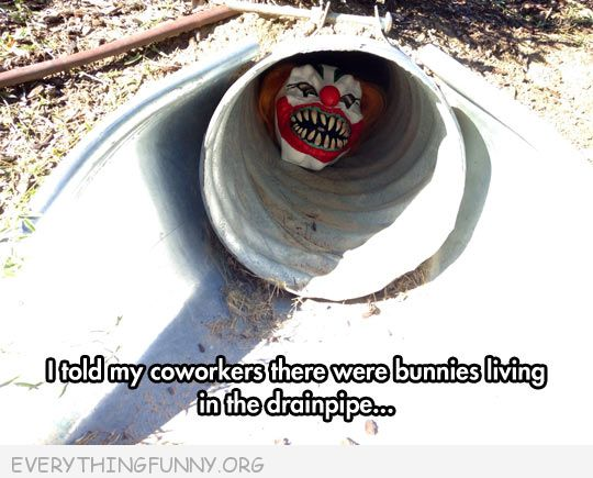 funny prank scary clown mask in pipe to scare coworkers