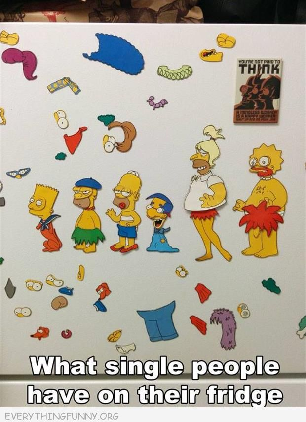funny what single people have on their refrigerators simpsons put it together yourself pieces