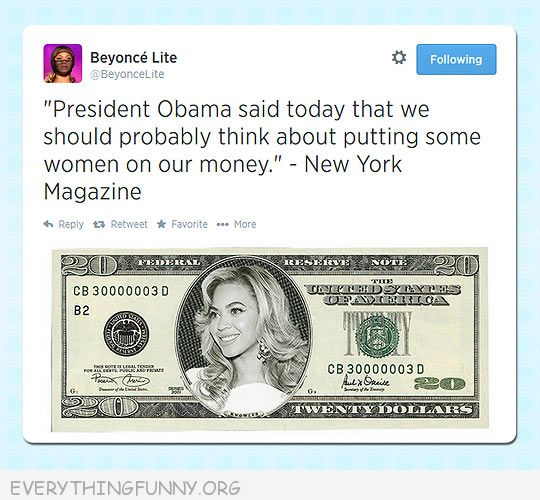 funny twitter post woman dollar bills beyonce