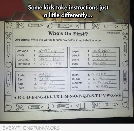 funny test answers alphabetical order