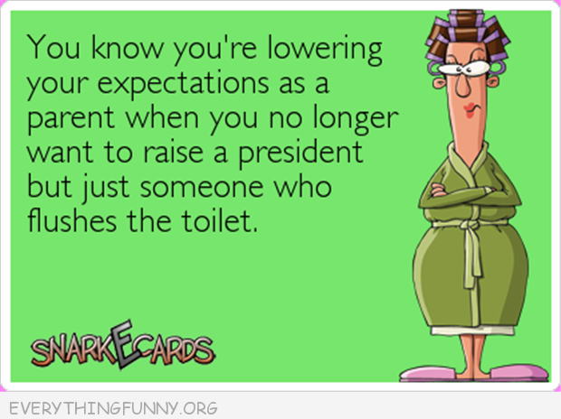 funny ecards you know you lowered expectations when you no longer want to raise a president just someone who flushes the toilet