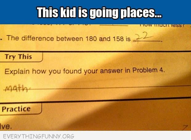 funny test answers how did you get your answer math
