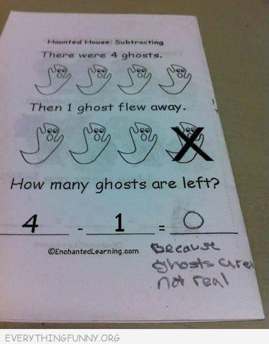 funny test answers none because ghosts aren't real