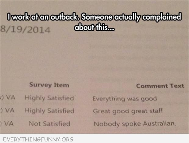 funny complaint note at outback no one spoke australian