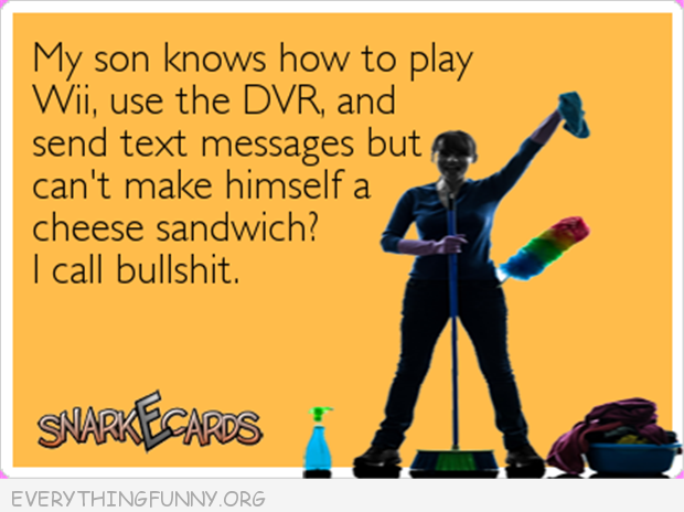 funny ecards my son knows how to use the dvr, send text message but can't make himself a cheese sandwich I call bullshit