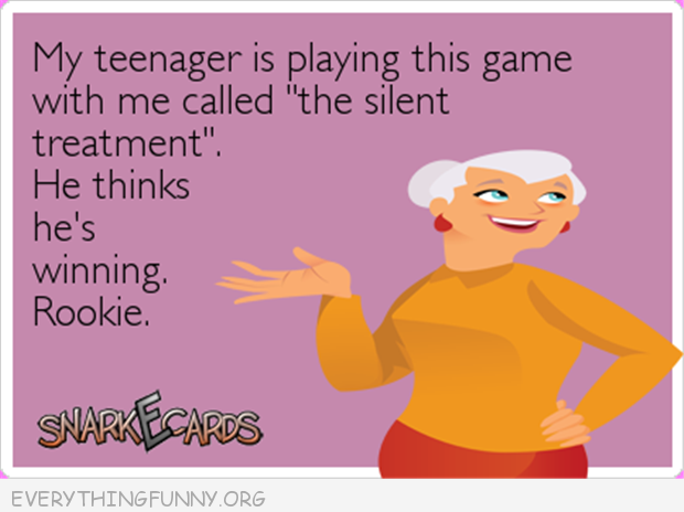 funny ecards my teenager is playing the silent treatment game thinks winning rookie