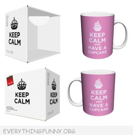funny pin cup mug keep calm and have a cupcake